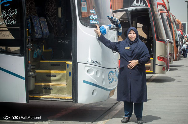 The strong female bus driver in capital