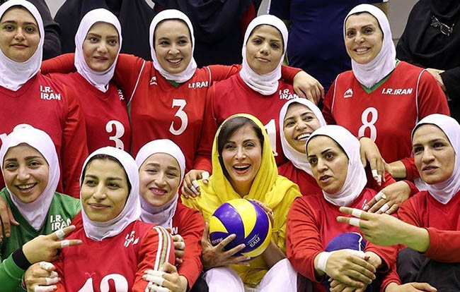 Mahtab Keramati in the Women's sitting volleyball national team camp