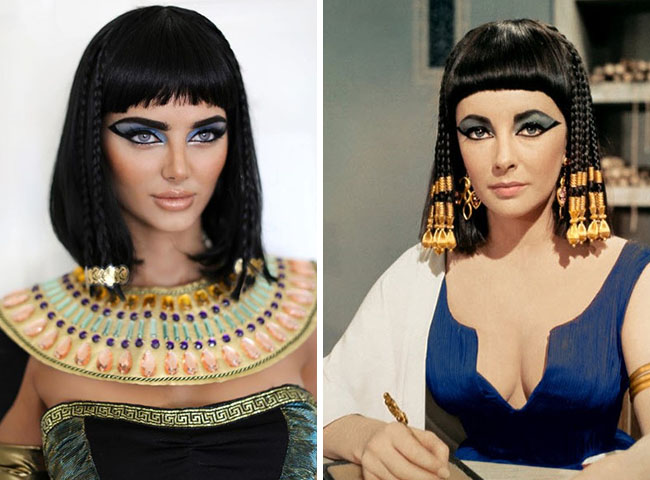 A Model Resemble to Elisabeth Taylor in Cleopatra Movie 1963