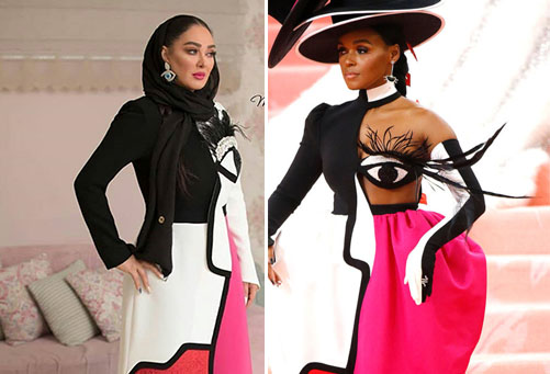 Elham Hamidi copying her outfit from Janelle Monáe